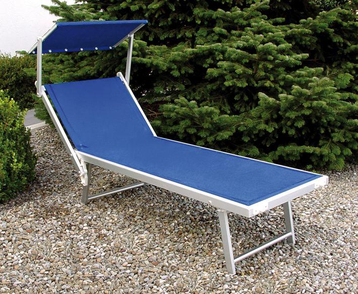 Pratiko storelettino mare in alluminio satinato pesante con parasole pratiko store - Lettino piscina alluminio ...