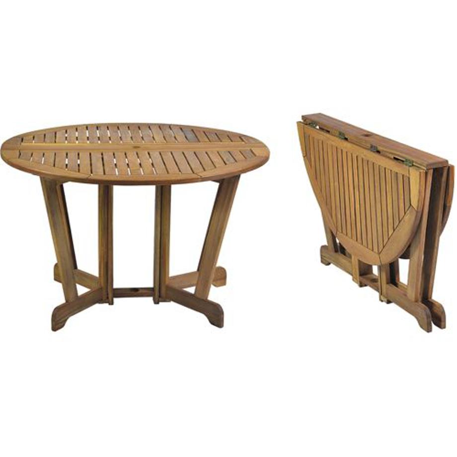 Pratiko storetavolo tondo pieghevole in legno miele for Reguitti mobili da giardino