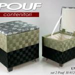 Set Pouf Quadro Gicos Nero/Verde 2Pz. Gicos