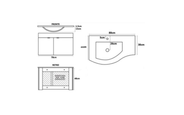 Mobile bagno dalia bianco pratiko store for Mobile bagno dimensioni