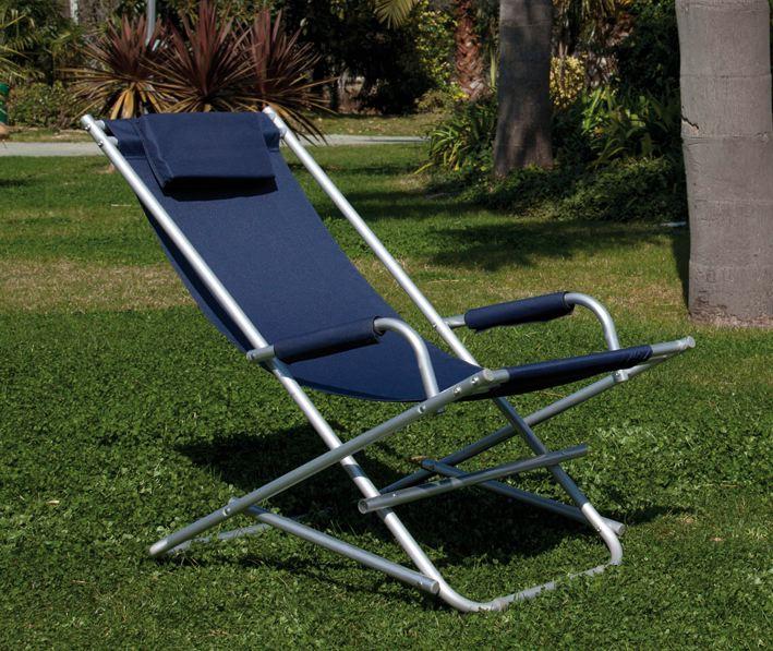Sedia sdraio dondolo in alluminio e pvc blu con braccioli for Sedie in alluminio