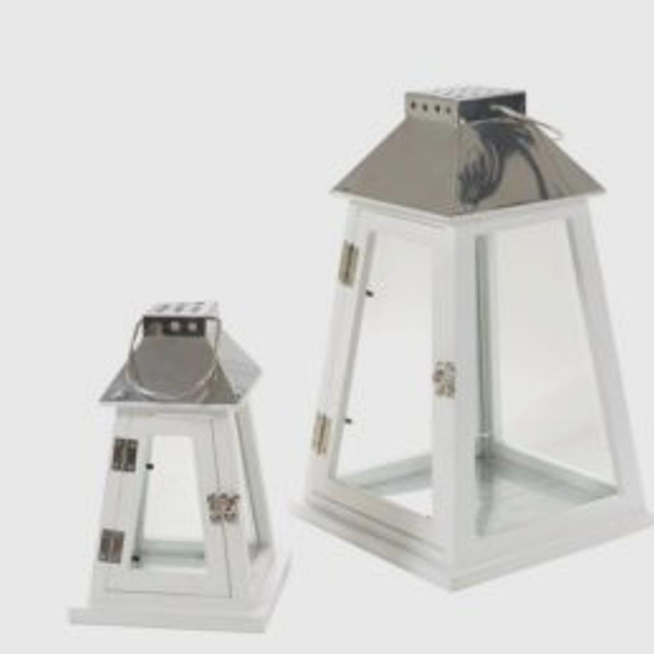 Lanterne legno bianche piramide set 2 pz pratiko store for Lanterne bianche
