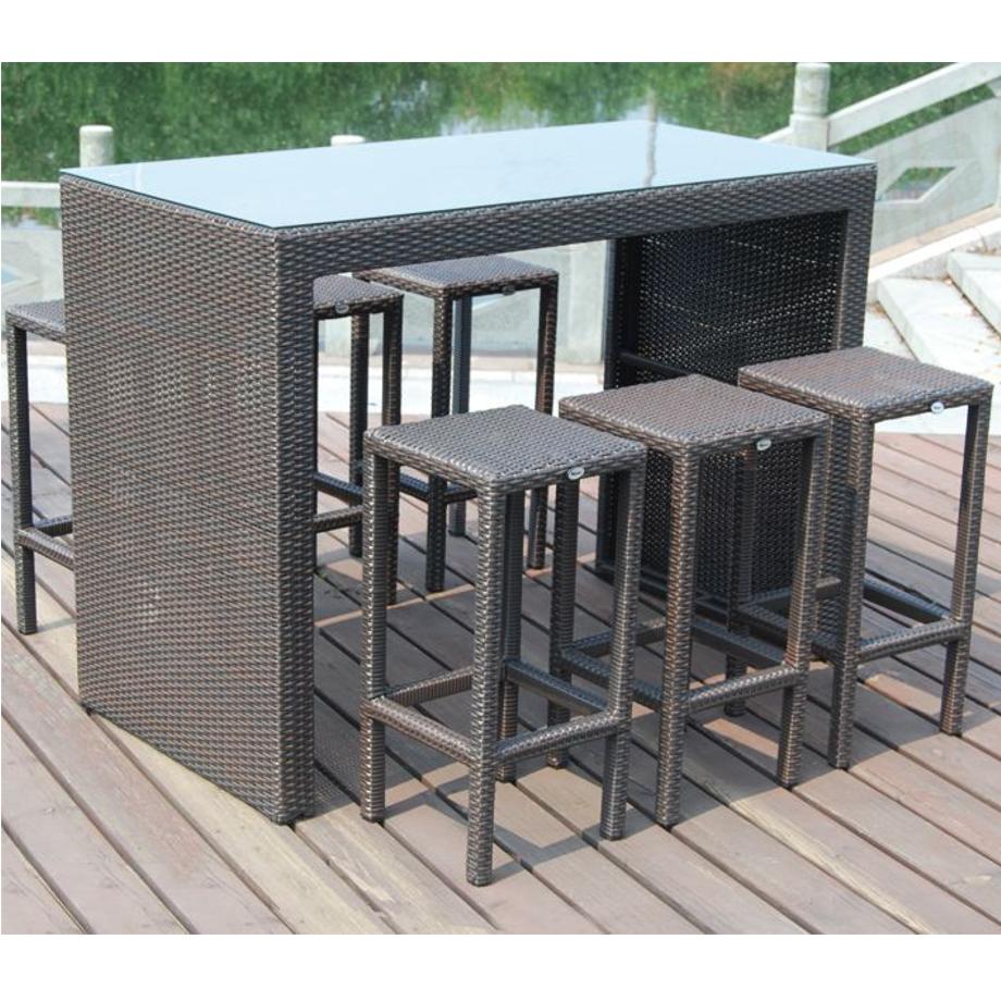 set bar in polyrattan marrone papillon pratiko store. Black Bedroom Furniture Sets. Home Design Ideas