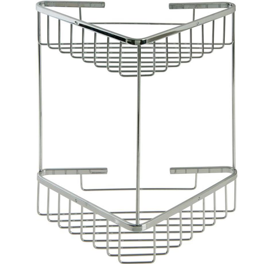 Portaoggetti per bagno in acciaio inox doppio pratiko store - Accessori bagno inox ...
