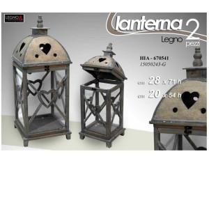 Lanterna Wood Heart Set 2 pezzi