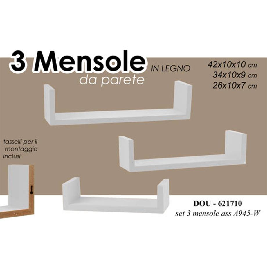 Arredamento Mensole A Parete.Set Mensole Da Parete Bianche Pratiko Store